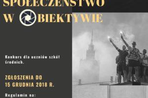 """V Ogólnopolski Konkurs Fotograficzny """"Społeczeństwo w obiektywie"""" – do 15 grudnia 2018"""